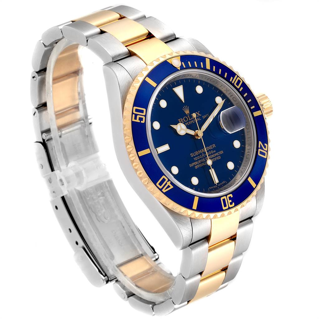 Rolex Submariner Blue Dial Bezel Steel Gold Watch 16613 Box Card SwissWatchExpo