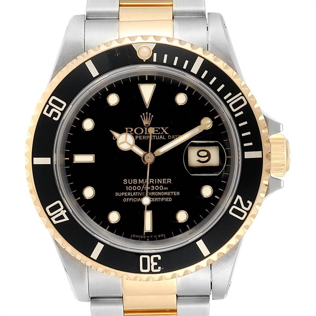 23509 Rolex Submariner Date Steel 18K Yellow Gold Mens Watch 16613 SwissWatchExpo