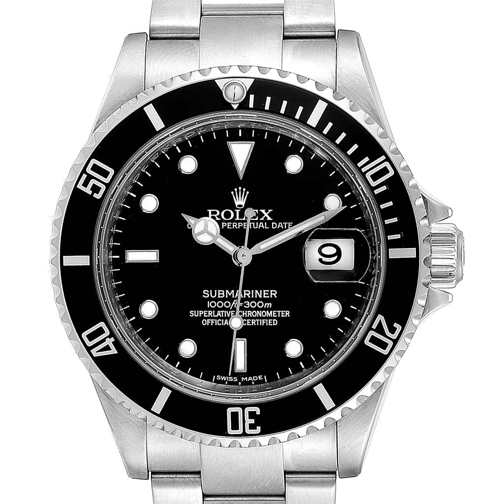 24124 Rolex Submariner Date 40 Stainless Steel Automatic Mens Watch 16610 SwissWatchExpo