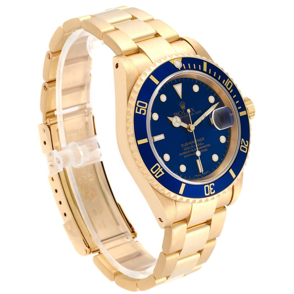 24236 Rolex Submariner 18K Yellow Gold Blue Dial 40mm Mens Watch 16618 SwissWatchExpo