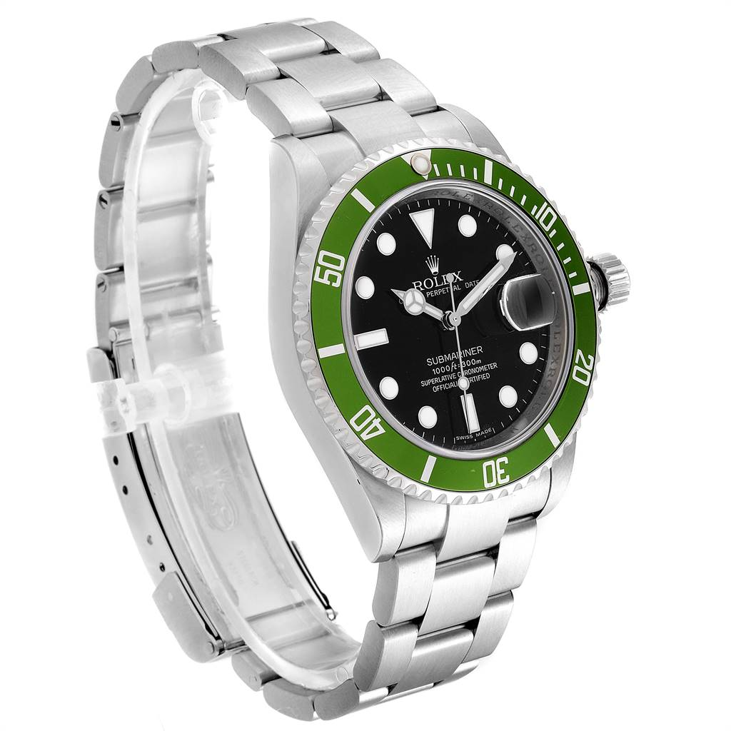24457 Rolex Submariner 50th Anniversary Green Kermit Mens Watch 16610LV SwissWatchExpo