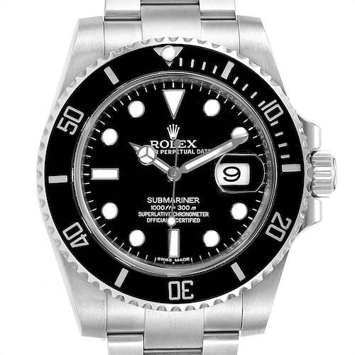 Photo of Rolex Submariner Ceramic Bezel Black Dial Steel Mens Watch 116610 Box Card