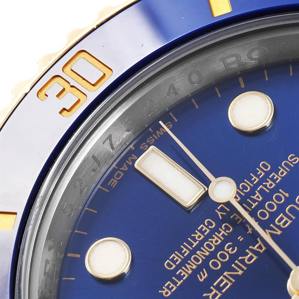 24754 Rolex Submariner Steel 18K Yellow Gold Blue Dial Watch 116613 SwissWatchExpo