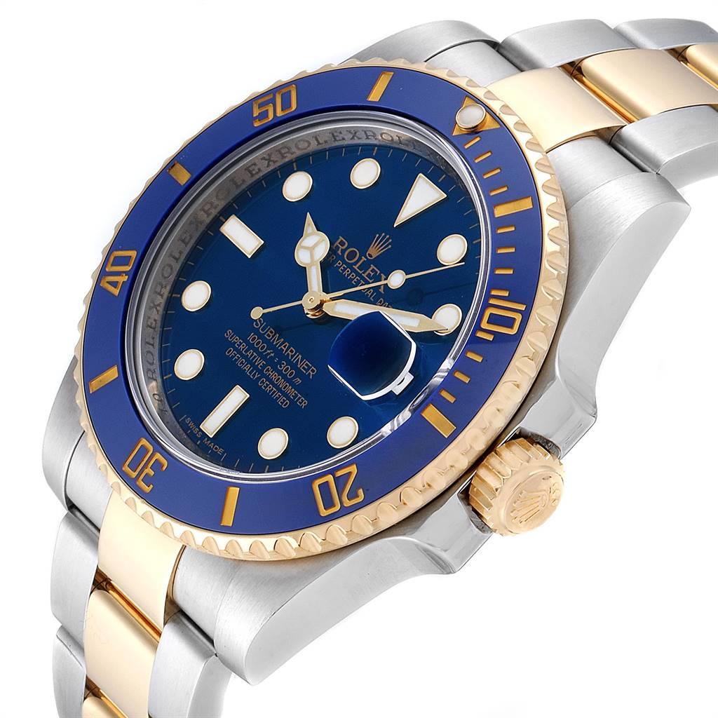 Rolex Submariner Steel 18K Yellow Gold Blue Dial Watch 116613 SwissWatchExpo