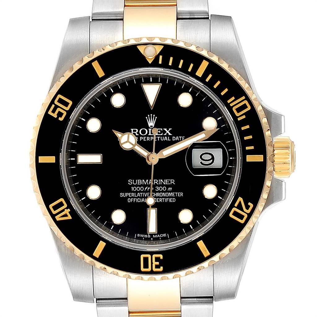 24840 Rolex Submariner Steel Yellow Gold Black Dial Steel Mens Watch 116613 SwissWatchExpo