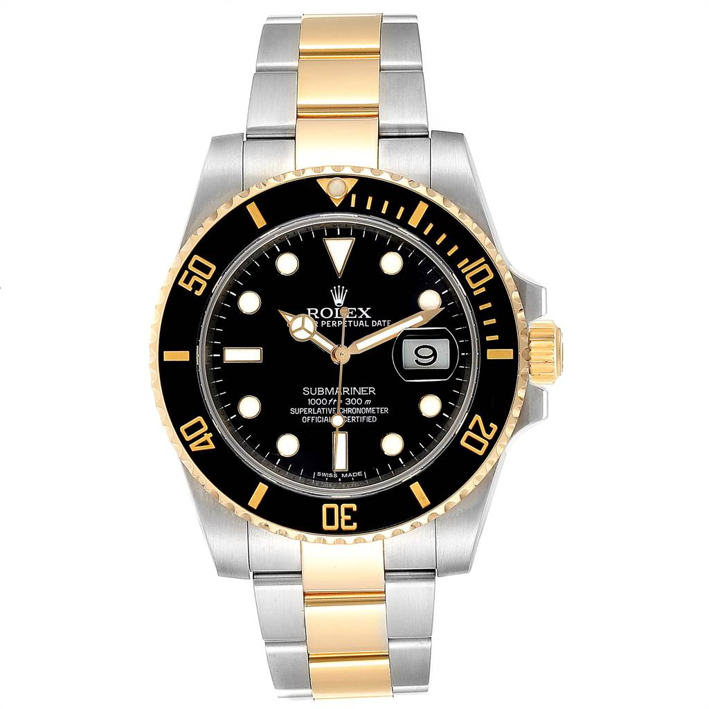 24866 Rolex Submariner Steel Yellow Gold Black Dial Steel Mens Watch 116613 SwissWatchExpo