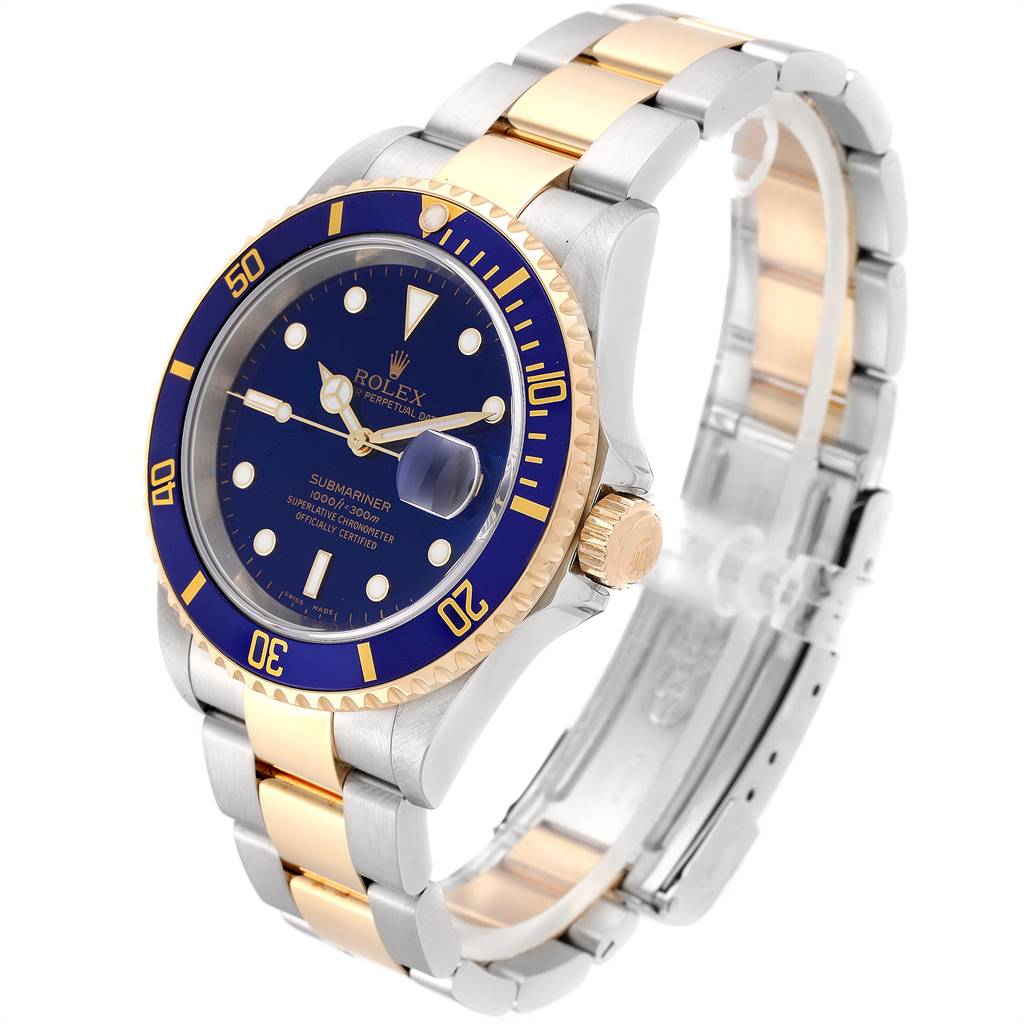24869 Rolex Submariner Purple Blue Dial Steel Yellow Gold Mens Watch 16613 SwissWatchExpo