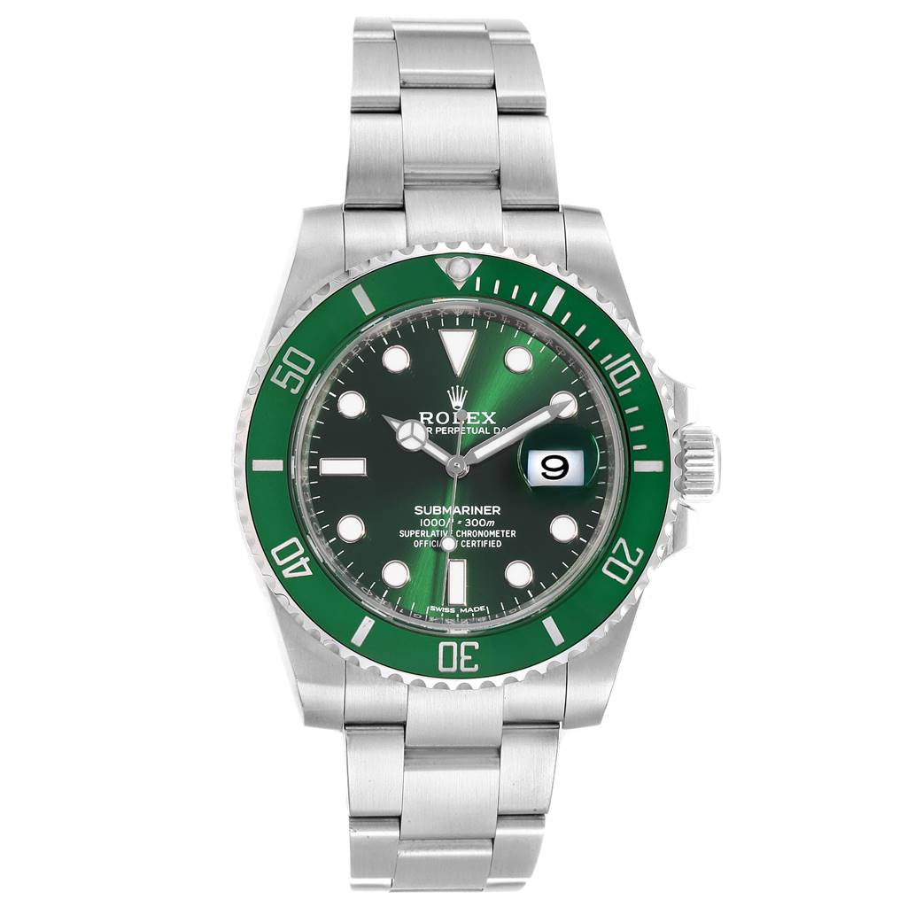25086 Rolex Submariner Hulk Green Dial Bezel Steel Steel Mens Watch 116610LV SwissWatchExpo