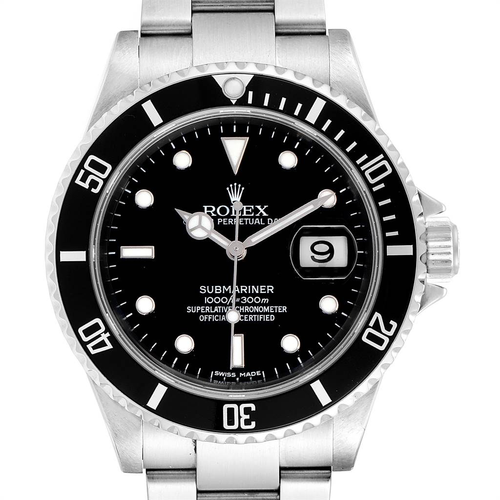 25097 Rolex Submariner 40mm Black Dial Steel Mens Watch 16610 Box SwissWatchExpo