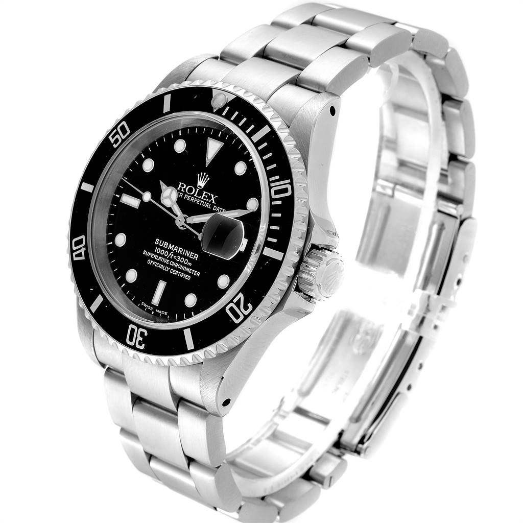 24958 Rolex Submariner 40mm Black Dial Steel Mens Watch 16610 Box SwissWatchExpo