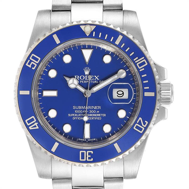 Rolex Submariner White Gold Blue Dial Ceramic Bezel Watch 116619 Box Card SwissWatchExpo