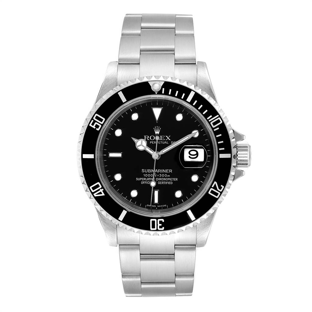 Rolex Submariner 40mm Black Dial Steel Mens Watch 16610 Box SwissWatchExpo
