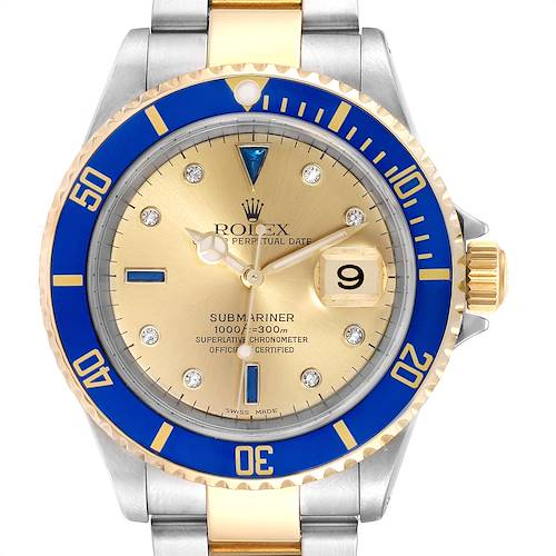 Photo of Rolex Submariner Steel Gold Diamond Sapphire Serti Dial Mens Watch 16613 PARTIAL PAYMENT