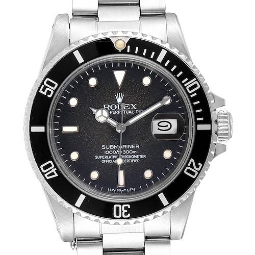 Photo of Rolex Submariner Tropical Dial Vintage Steel Mens Watch 16800 Box