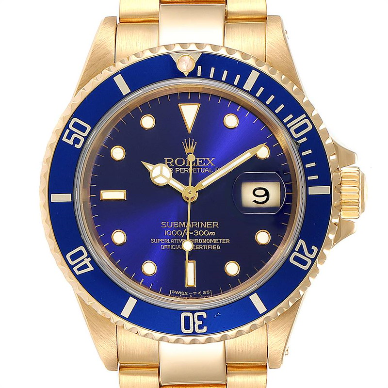 Rolex Submariner Yellow Gold Purple Dial 40mm Mens Watch 16618 SwissWatchExpo