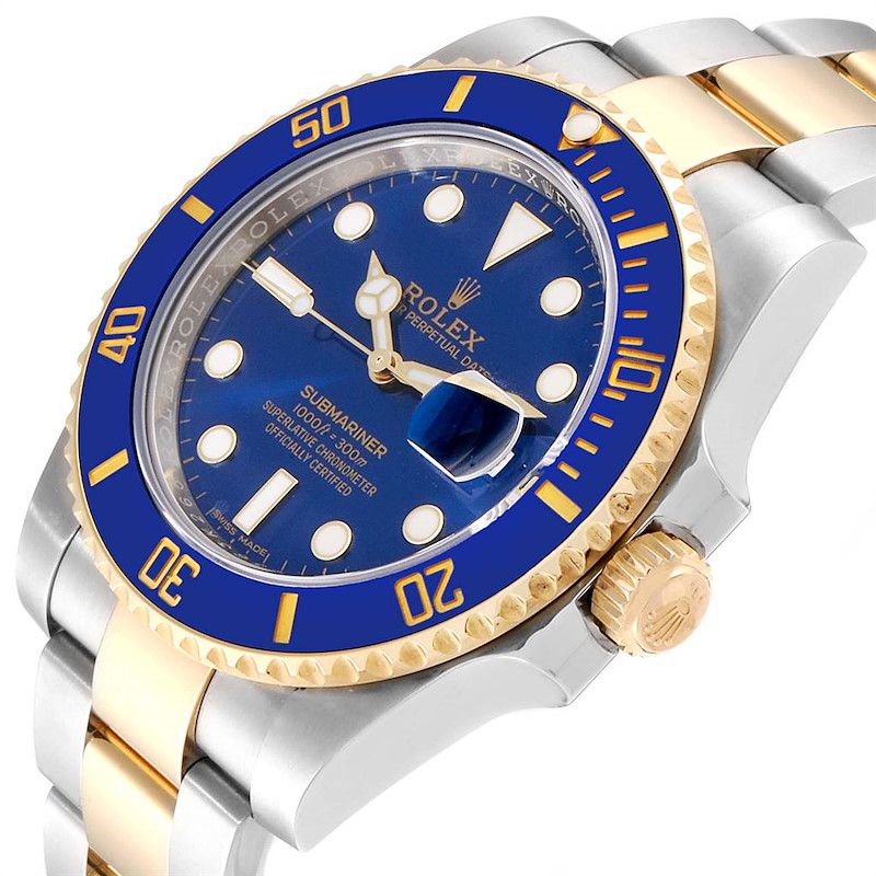 Rolex Submariner Blue Dial Steel Yellow Gold Mens Watch 116613 Box Card SwissWatchExpo