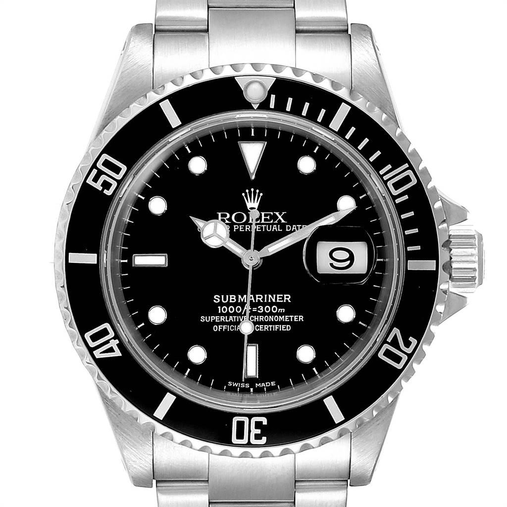 Rolex Submariner 40mm Black Dial Steel Mens Watch 16610 Box