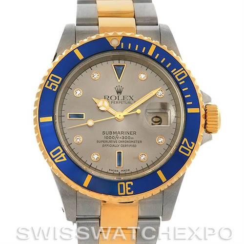 Photo of Rolex  Submariner 16613 SS/Gold Diamond Sapphire 16613