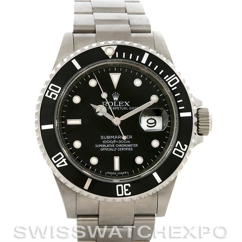 2866 ROLEX PREOWNED  SUBMARINER STEEL WATCH 16610 YEAR 2007 SwissWatchExpo
