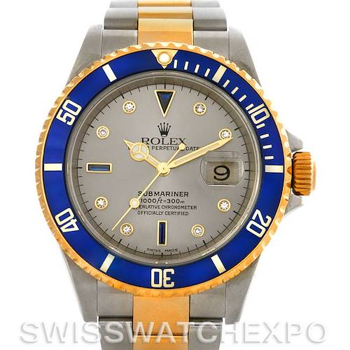 Photo of Rolex Submariner 16613 SS Gold Diamond Sapphire 16613