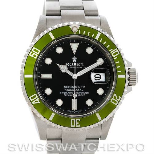 Photo of Rolex Green Submariner 50th Anniversary Steel Watch 16610LV Year 2007