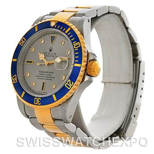 4530 Rolex Submariner 16613 Steel Gold Diamond Sapphire Serti Dial Watch SwissWatchExpo