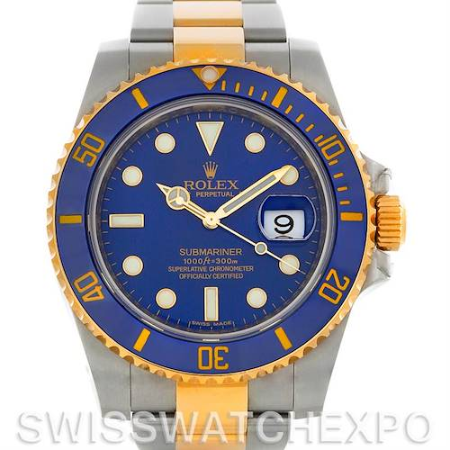 Photo of Rolex Submariner Steel 18K Yellow Gold Blue Dial Watch 116613BLSO