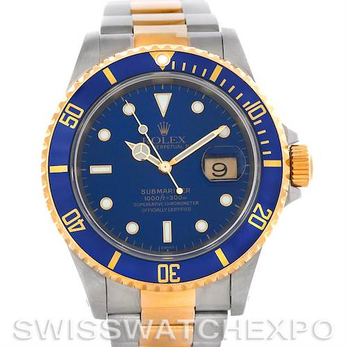 Photo of Rolex Submariner Steel and 18K Yellow Gold Blue Dial Watch 16613