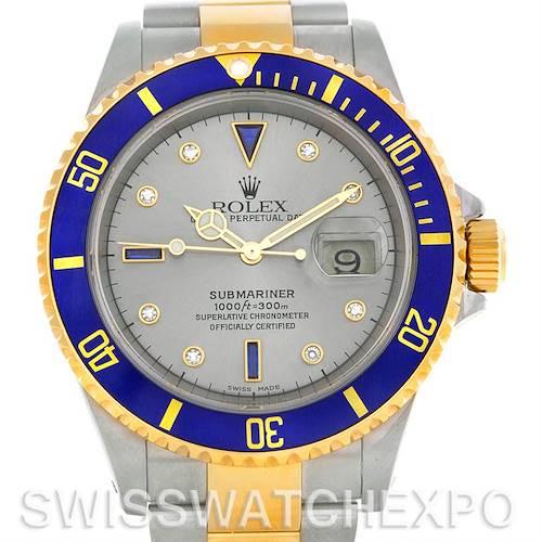 Photo of Rolex Submariner 16613 Steel Gold Diamond Sapphire Serti Dial Watch