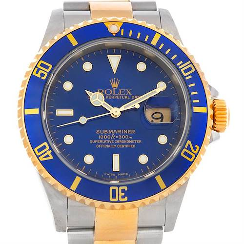 Photo of Rolex Blue Submariner Steel 18K Yellow Gold Watch 16613