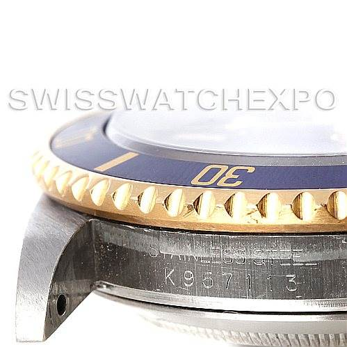 5305 Rolex Blue Submariner Steel 18K Yellow Gold Watch 16613 SwissWatchExpo