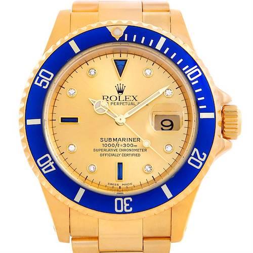 Photo of Rolex Submariner 18k Gold Serti Dial Diamond Sapphire Watch 16618