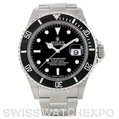 5754 Rolex Submariner Mens Steel Date Watch 16610 SwissWatchExpo