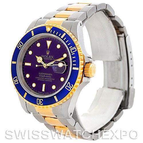 Rolex Blue Submariner Steel 18K Yellow Gold Watch 16613 SwissWatchExpo