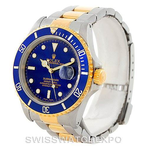 7623 Rolex Submariner Steel Yellow Gold Blue Dial Watch 16613 SwissWatchExpo