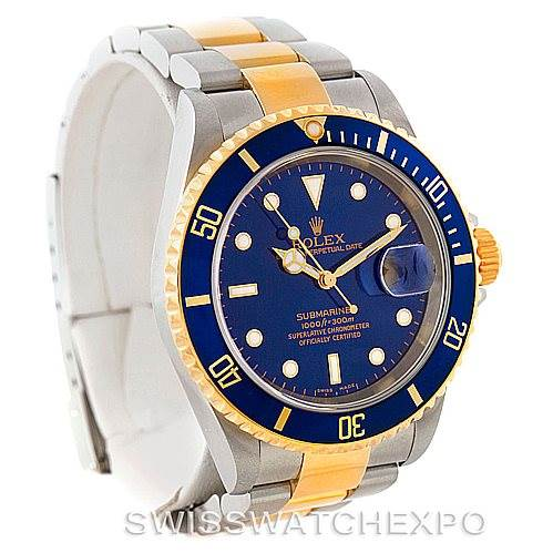 7628 Rolex Submariner Steel Yellow Gold Blue Dial Watch 16613 SwissWatchExpo