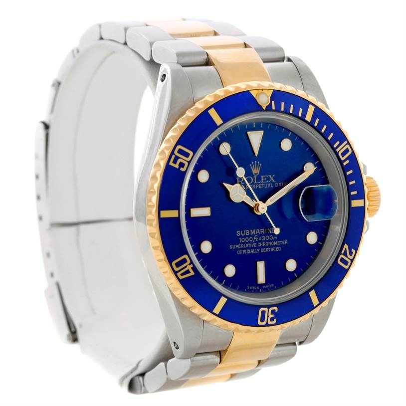 8619 Rolex Submariner Steel Yellow Gold Blue Dial Watch 16613 SwissWatchExpo