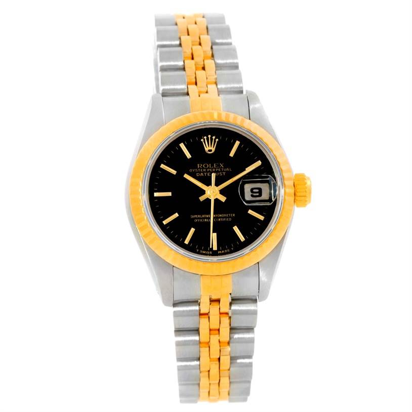 9869A Rolex Datejust Womens Steel 18k Yellow Gold Black Dial Watch 69173 SwissWatchExpo
