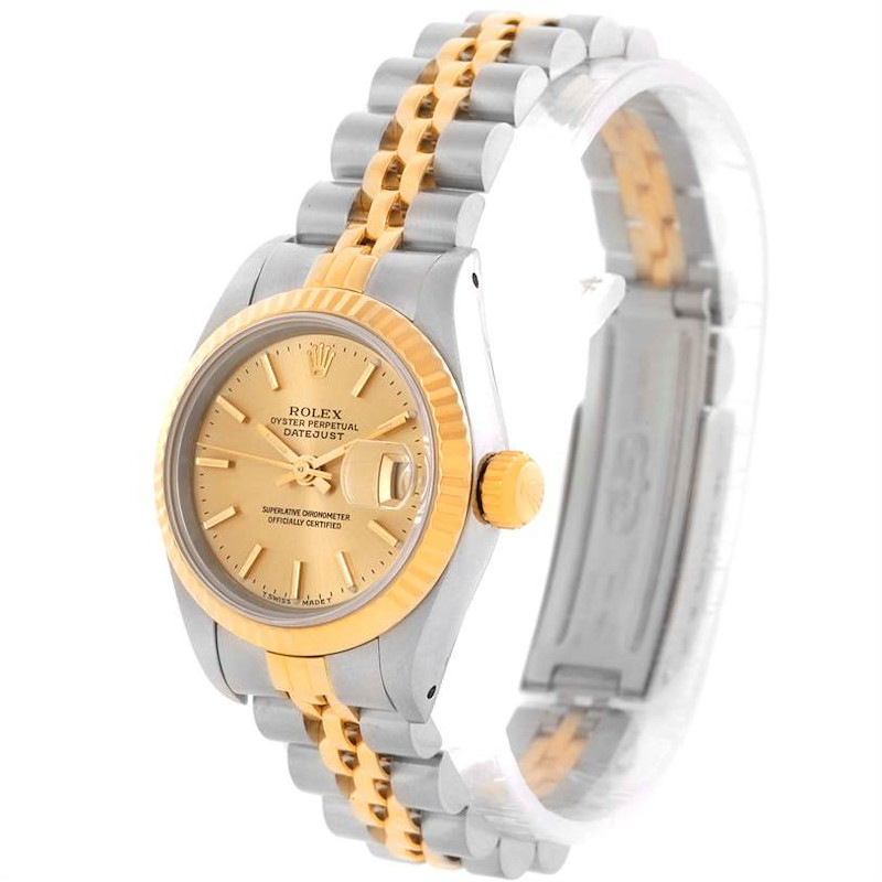 Rolex Datejust Womens Steel 18k Yellow Gold Champagne Dial Watch 69173 SwissWatchExpo