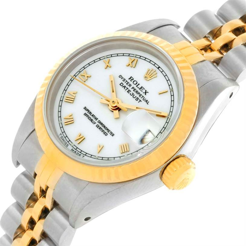 9862 Rolex Datejust Womens Steel 18k Yellow Gold White Dial Watch 69173 SwissWatchExpo