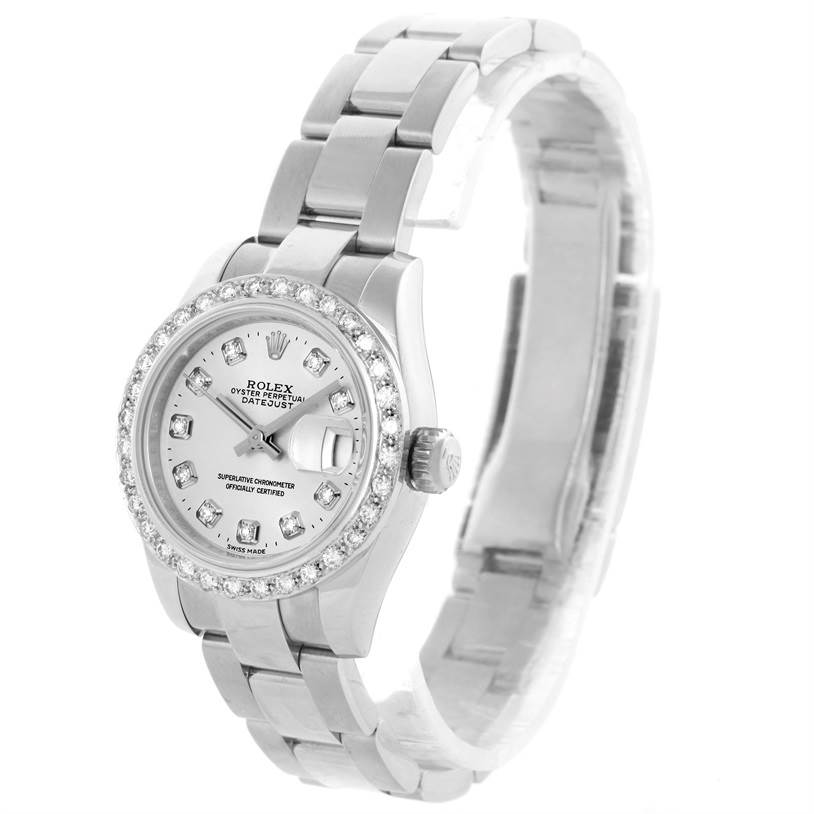 10371 Rolex Datejust Ladies Stainless Steel Diamond Watch 179160 SwissWatchExpo