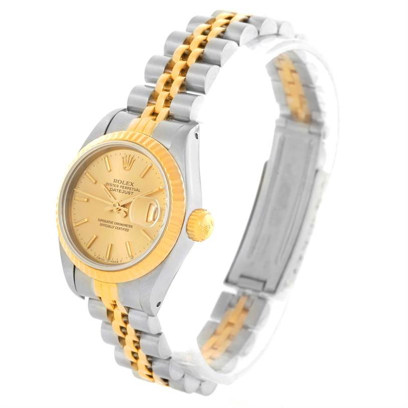 Rolex Datejust Womens Steel 18k Yellow Gold Champagne Dial Watch 69173 SwissWatchExpo