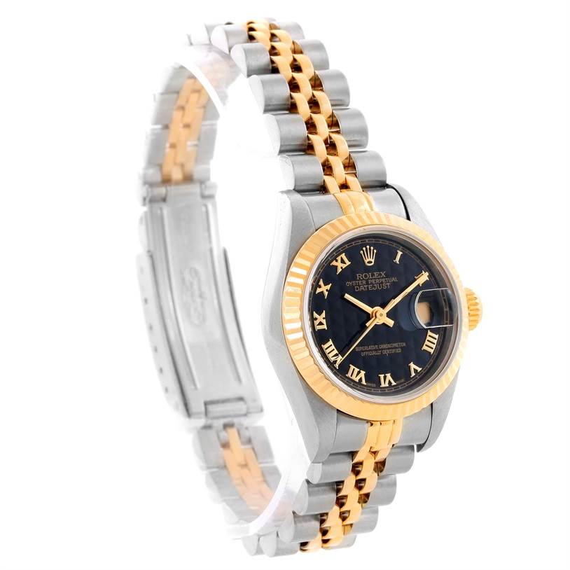 9922 Rolex Datejust Steel 18k Yellow Gold Black Pyramid Dial Watch 69173 SwissWatchExpo