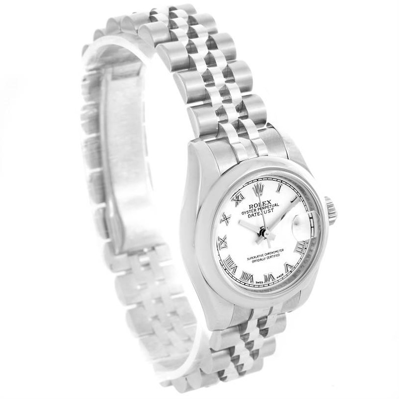 Rolex Datejust White Roman Dial Stainless Steel Ladies Watch 179160 SwissWatchExpo