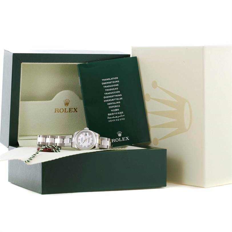 11458 Rolex Datejust White Roman Dial Oyster Bracelet Ladies Watch 179160 SwissWatchExpo