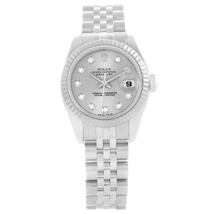 11482 Rolex Datejust Ladies Steel 18K White Gold Diamond Watch 179174 SwissWatchExpo