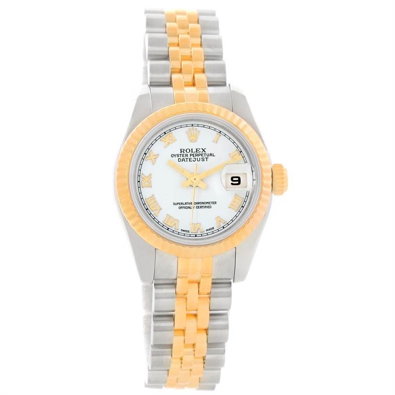 11678 Rolex Datejust Ladies Steel 18K Yellow Gold White Dial Watch 179173 SwissWatchExpo