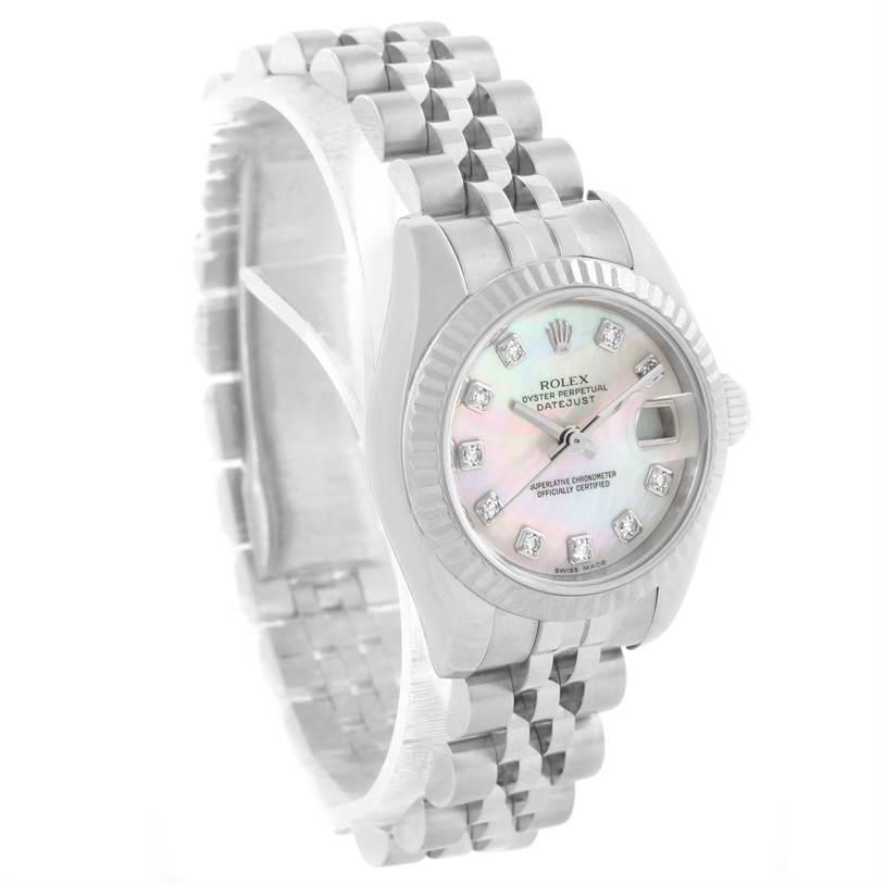 11229 Rolex Datejust Steel White Gold Mother of Pearl Diamond Watch 179174 SwissWatchExpo