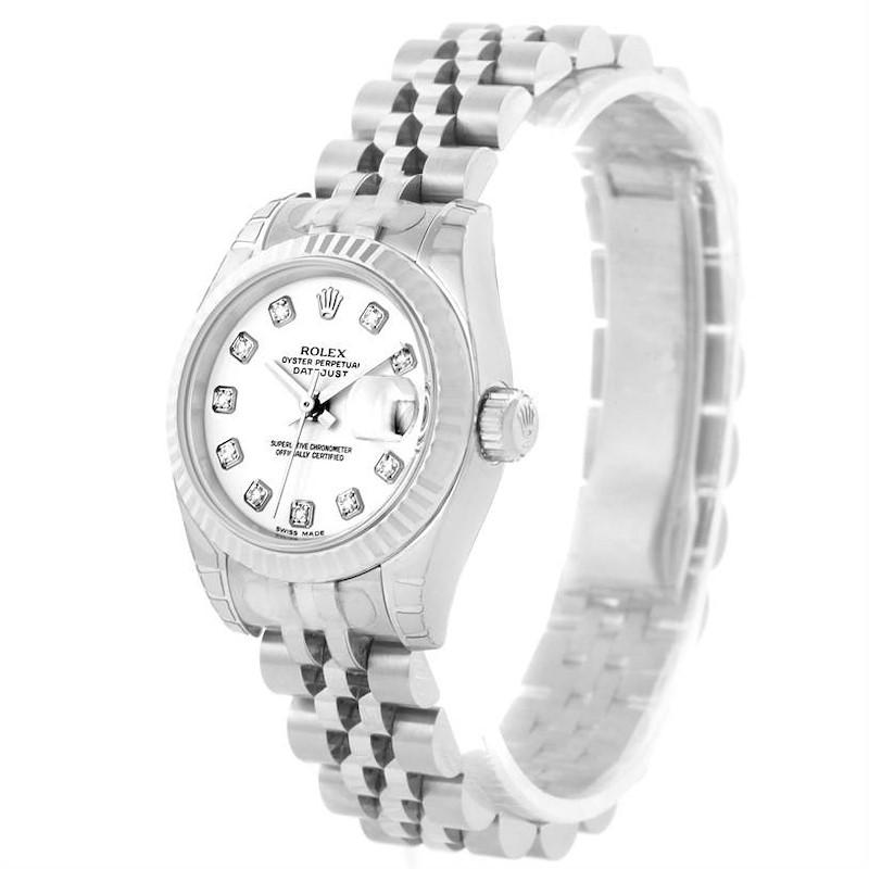 Rolex Datejust White Diamond Dial Ladies Watch 179174 Unworn SwissWatchExpo