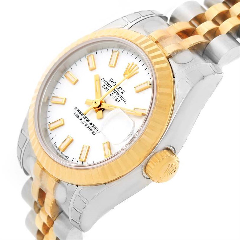 Rolex Datejust Steel Yellow Gold White Dial Ladies Watch 179173 Unworn SwissWatchExpo